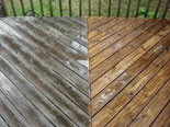 before and after wood decking cleanup
